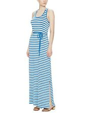 AVALEIGH Twisted T Back Beach Blue & White Maxi Dress Size XS SAKS FIFTH AVE NEW