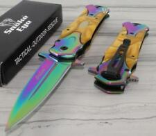 TAC-FORCE SNAKE EYE Gold Rainbow Tactical Spear Point Spring Assisted Knife