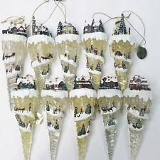 Vintage Set Of 10 Thomas Kinkade Village Light Up Icicle Christmas Ornaments