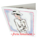 AUTHENTIC CHANEL COCO Sketch Karl Lagerfeld Card Necklace Brooch Jacket BIRTHDAY