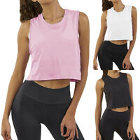 Women Workout Gym Crop Vest Tops Sleeveless Yoga Tank Shirt Pullover Athletic