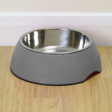 More details for large grey pet food/water bowl dog/cat stainless steel/non slip feeding dish