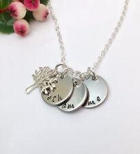 Personalisierte mit 1, 2, 3 oder 4 Namen Hand gestempelt Stammbaum Halskette Geschenk