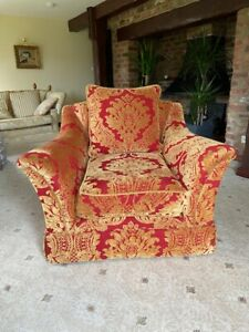 PARKER AND FARR ARMCHAIR IN RED AND GOLD,  EXCELLENT CONDITION. NEVER USED