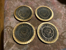 "VINTAGE United States Senate Brass Coaster  3 1/4"" Lot Of 4"