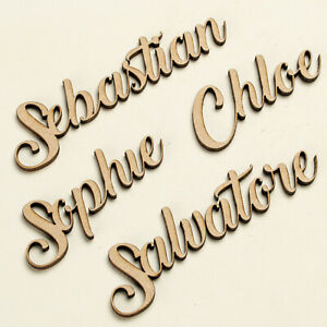 Wooden Personalised Script Names Bespoke Wedding Christmas Words Letters