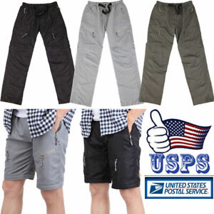 Men Convertible Pant Light Weight Quick-Dry Cargo Shorts Outdoor Sports Trousers