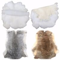 Real Rabbit Fur Blanket Rugr Pelt Throw Fur Blanket Carpet Cosy Suitable Craft