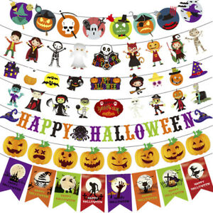 2020 Happy Halloween Witch Banner Bunting Pennant Flag Hanging Party Decoration
