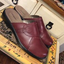 ARRAY Womens Leather Nice Casual Slip On Mules Clogs Shoes Size 11N dark Red