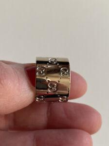 Gold Ring Gucci Logo Anello Oro Bianco