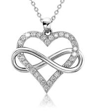 Infinity Heart Necklace for Women 925 Sterling Silver with Cubic Zirconia Stones