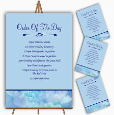 Pale Blue Love Hearts Personalised Wedding Order Of The Day Cards & Signs