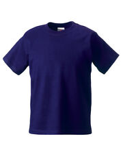 RUSSELL CHILDREN'S CLASSIC T-SHIRT PLAIN TOP 100% SOFT COTTON COLOURS BOYS GIRLS
