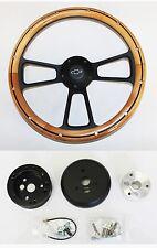 "1964-66 Chevy II 2 Nova Impala Alder Wood on Black Steering Wheel 14"" Bowtie Cap"