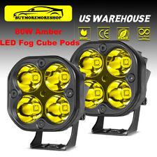 2x 80W Amber LED Fog Cube Spot Work Lights Driving Pods Dual Row Offroad Bumper