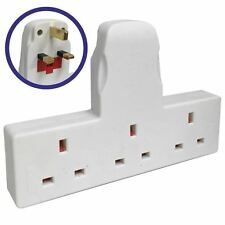 New 3 WAY / 3 GANG FUSED PLUG MULTI SOCKET EXTENSION ADAPTOR ADAPTER NT