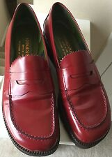 Donald J. Pliner Red Wedge Loafers Womens 8M Leather Italy Slip On Shoes
