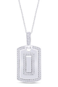 Round Simulated Diamond Men's Dog Tag Pendant in 14K White Gold Over Silver