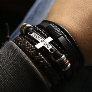 3Pcs/set Leather Bracelets Men Bangles Women TRUST IN GOD Cross Charm Homme Gift