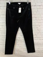 J Jill Women's Size 8 Black or Gray Velvet Pants Mid Rise Button Zip Straight