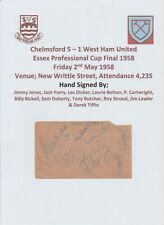 CHELMSFORD 5-1 WEST HAM UNITED 1958 RARE ORIG AUTOGRAPHED BOOK PAGE 11 X SIGS