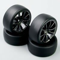 4pc 1/10 RC Falt Rubber Speed Drift Racing Car Tires Tyre&Wheel Rims Set For HPI