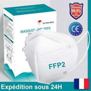 Masque Protection Respiratoire Faciaux Certifié CE Standard FFP2, Lot 5-200 Pcs