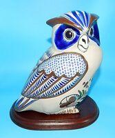 "Large TONALA HAND PAINTED FOLK ART POTTERY OWL SIGNED BY MOSLADO FIGURINE 9"""