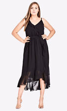 City Chic Lined Pretty Black Romantic Frill Party Dress Size XL 22