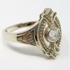14K White Gold Diamonique size 6 Ring Old European Premier Cut CZ Ring Victorian