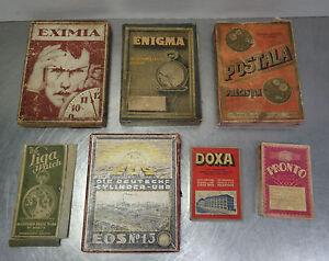 Antike Werbung verschiedene Uhren Ersatzteil Schachteln Art Deco