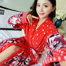 Ladies Girls Soft Fleece Bath Robe Printed Bathrobe Warm Dressing Gown