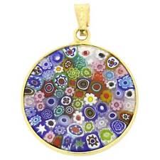 """GlassOfVenice Murano Glass Millefiori Pendant """"Multicolor"""" in Gold-Plated Frame"""