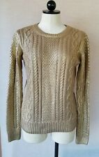 Michael Kors Women Cable Knit Gold Metallic Sweater Crew Neck Long Sleeve Size M