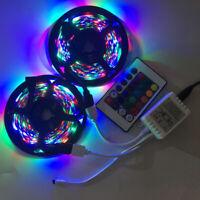 10M 2x5M 3528 SMD RGB 600LEDs LED Strip Lights Lamp 24Key IR remote Controller