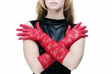 Burlesque Gloves Fishnet Gloves Lace Lace Gloves Long Red Z075