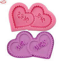 MR & MRS Wedding Love Heart Silicone Mold Cake Decorating Chocolate Baking Mold