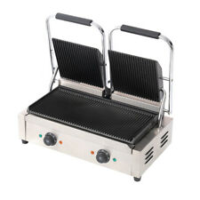 More details for commercial panini grill press sandwich toaster maker non-stick double sided cook