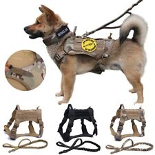 Camouflage Dog Harness Dog Vest with Handle Nylon Bungee Leash M L XL
