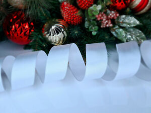 CHRISTMAS WIRED EDGE RIBBON 1.5 IN WIDE WHITE TREE WRAP GIFT WRAPPING BULK