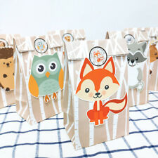 12x Safari Animals Paper Gift Bag Sweet Candy Bags Woodland Birthday Party Favor