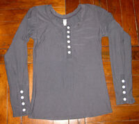 Afra Gray Long Sleeve SHIRT w/ Buttons Womens Size Small S Casual Top Stretch