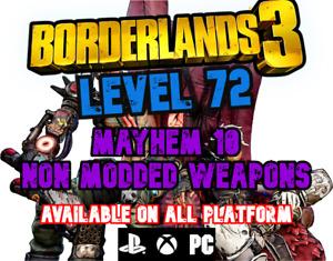 Borderlands 3 LEVEL 72 MAYHEM 10 Weapons BL3 PS4/PS5/XBOX/X/S/PC