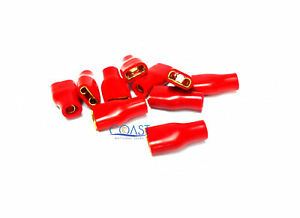 Xscorpion FS10R 10-12 Gauge AWG Gold Plated Female Spade Terminals Red - 10pcs