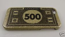 """for Iphone 5 phone case Monopoly """"500 money """" gold glitter"""
