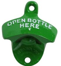 """""""OPEN BOTTLE HERE"""" WALL MOUNTED BEER BOTTLE OPENER BAR DECOR WITH SCREWS GREEN"""