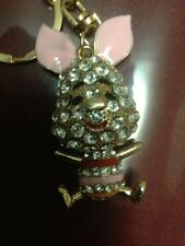 PIGLET PIG KEYRING KEYCHAIN PURSE CHARM ZIPPER (USING) SWAROVSKI ELEMENT.....