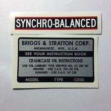 Briggs & Stratton Model Type & Code & Syncho-Balanced Decals for 14, 15 & 16-hp