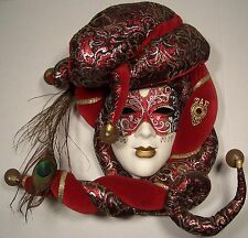 "UNIQUE ITALIAN CERAMIC FACE MASK ""JESTER"" MADE IN VENICE,ITALY HAND MADE RARE"